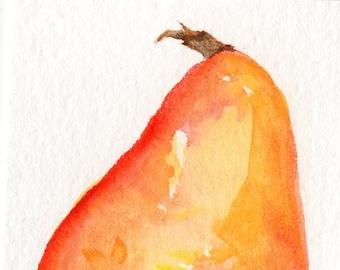 Pear ACEO Original , pear watercolor painting, original ACEO, pear Art Card, Modern minimalist, small fruit painting