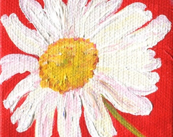 Shasta Daisies Painting Original Acrylic Canvas Art Mini Easel Small Floral Flowers On