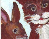 ACEO Kitty Cat and Bunny Rabbit Friends Original Painting - Shipping included for US or Canada - All money for Columbus Humane Society