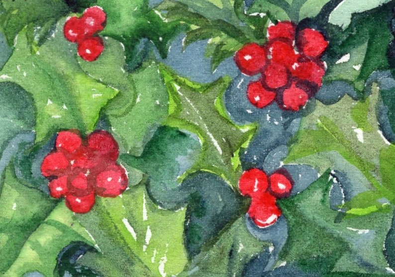 Aceo Holly Red Berries Watercolor Painting Original Small Etsy