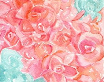 Succulents, Sedum Coral Watercolor Painting Original 5 x 7