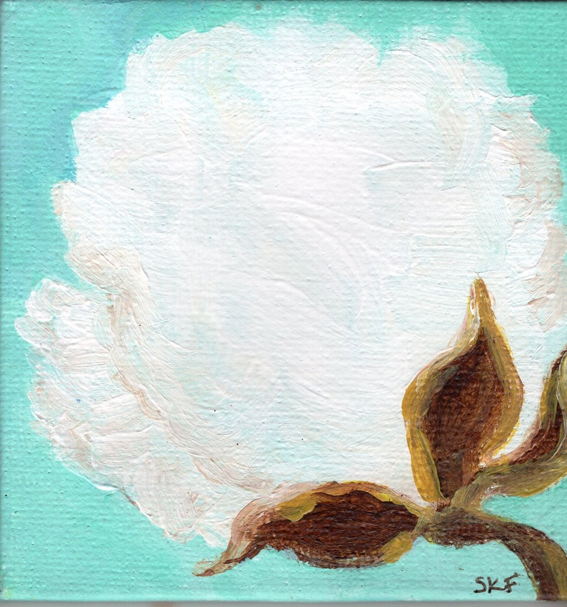 Mini canvas art Cotton Boll botanical Painting Small image 0