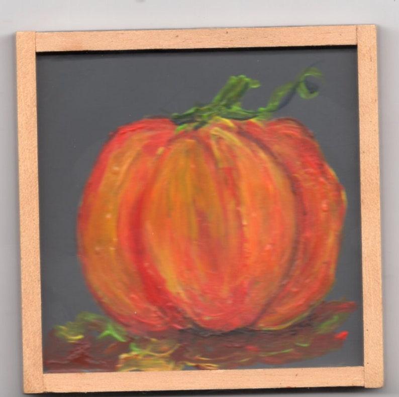 Hand painted mini pumpkin painting on little blackboard image 0