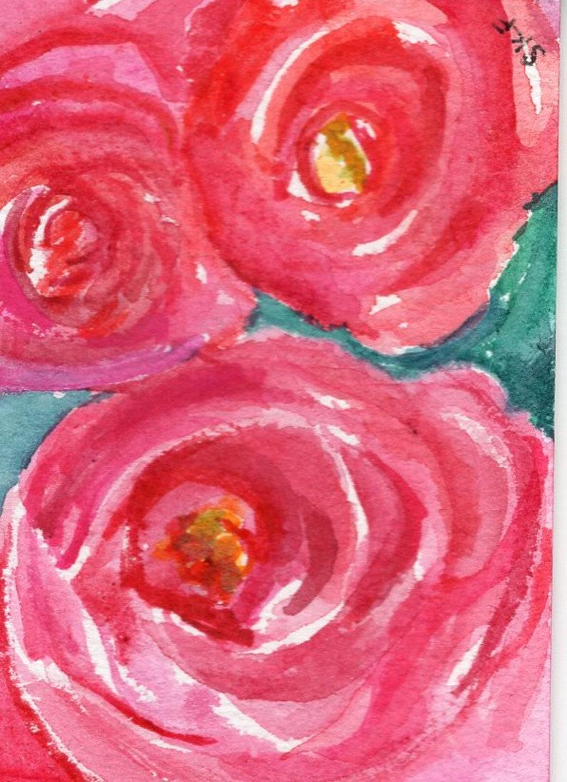 ACEO original roses watercolor painting floral original art image 0