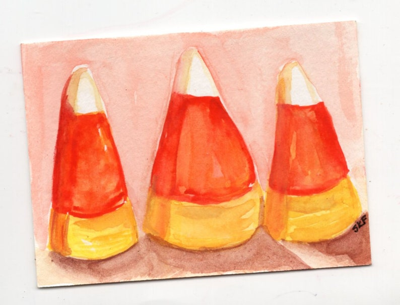 ACEO original candy corn watercolor painting Halloween image 0