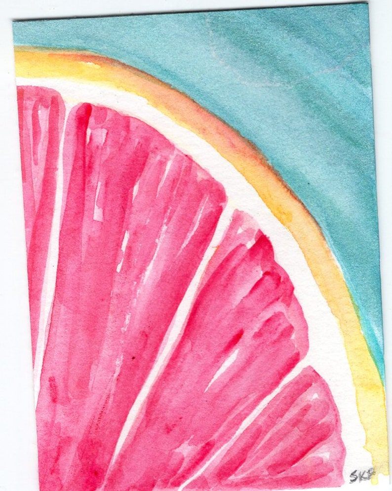 Grapefruit painting Grapefruit ACEO Original Art Card image 0