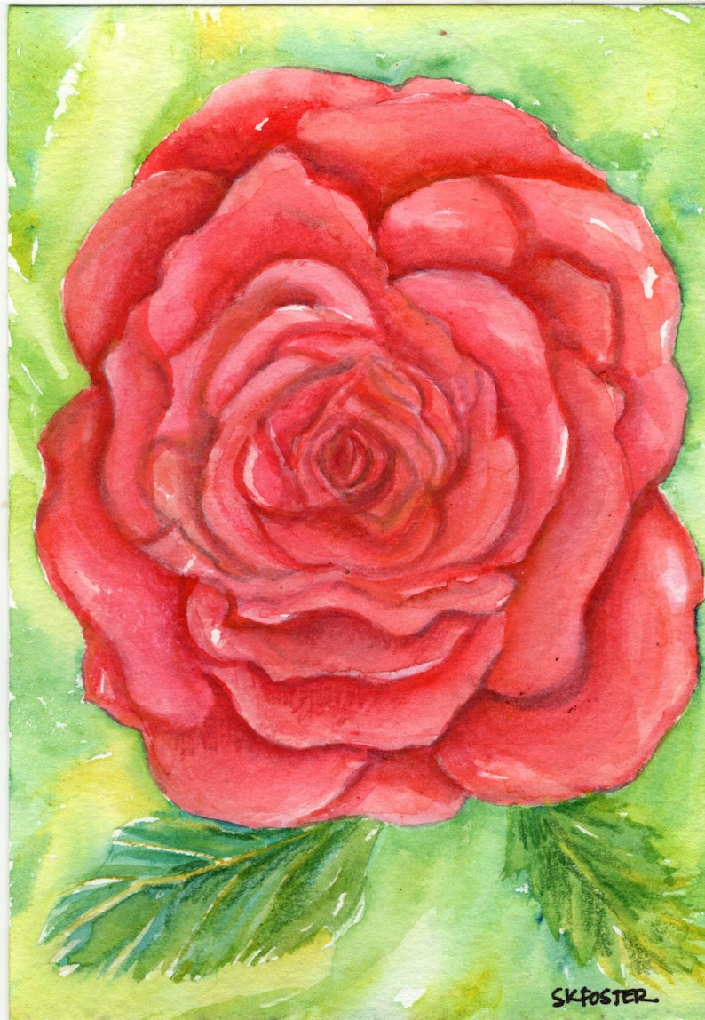 Original Red Rose Watercolor Painting 5x 7 one of a kind rose art