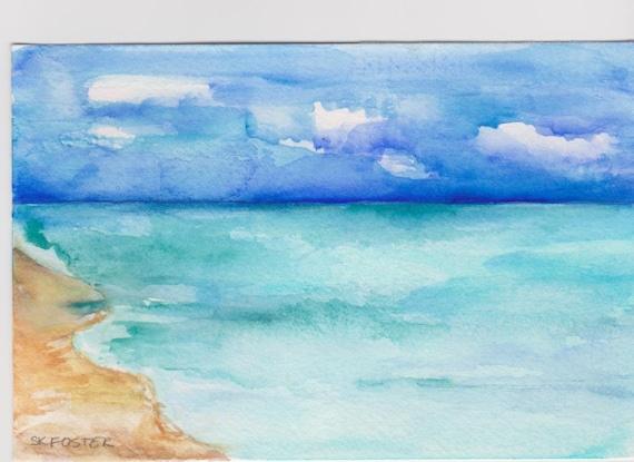 Acquerelli di paesaggi marini di Aruba pittura originale 4 x   Etsy