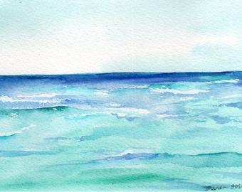Coastal painting, Florida Beach Seascape Watercolor Painting original, ocean art 5 x 7