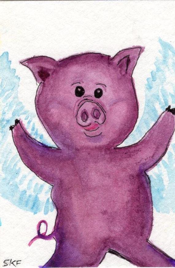 ACEO original lila Flying Pig-Aquarell wenn Schweine fliegen