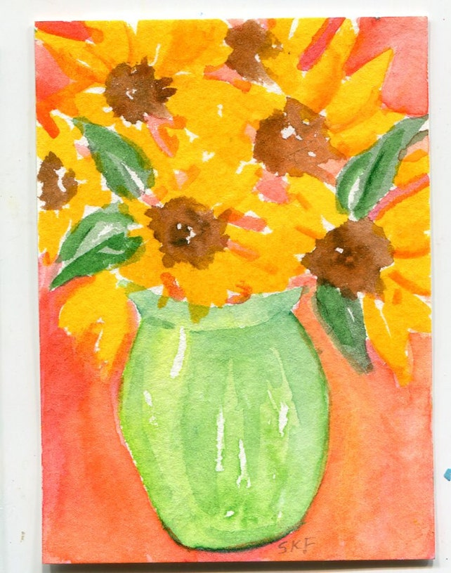 Aceo Original Sunflowers Watercolors Paintings Sunflowers In Etsy