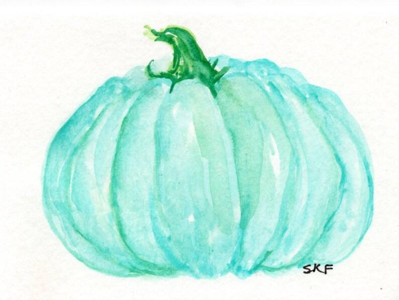 ACEO Original Teal Mini Pumpkin Watercolor Painting Fall image 0
