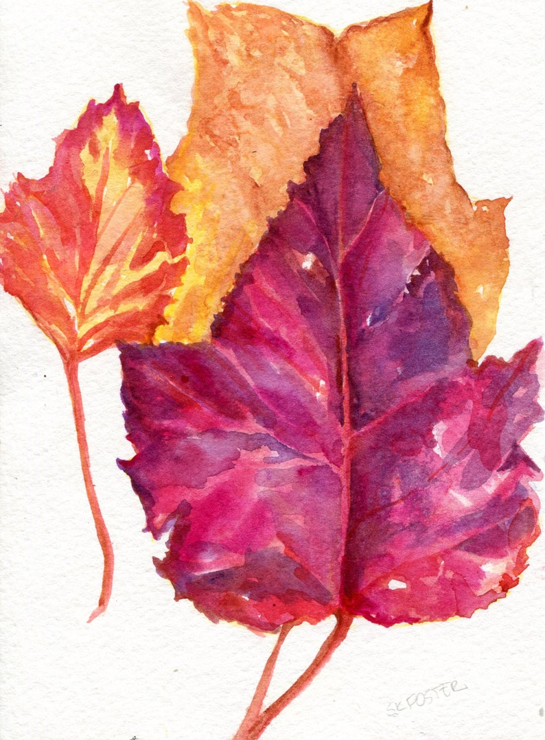 Autumn Leaves Fall Watercolor Painting, leaf art 5 x 7 colorful