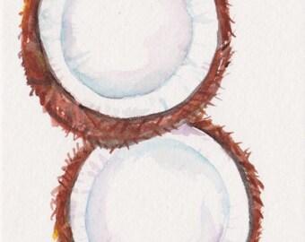 Coconuts watercolor painting original