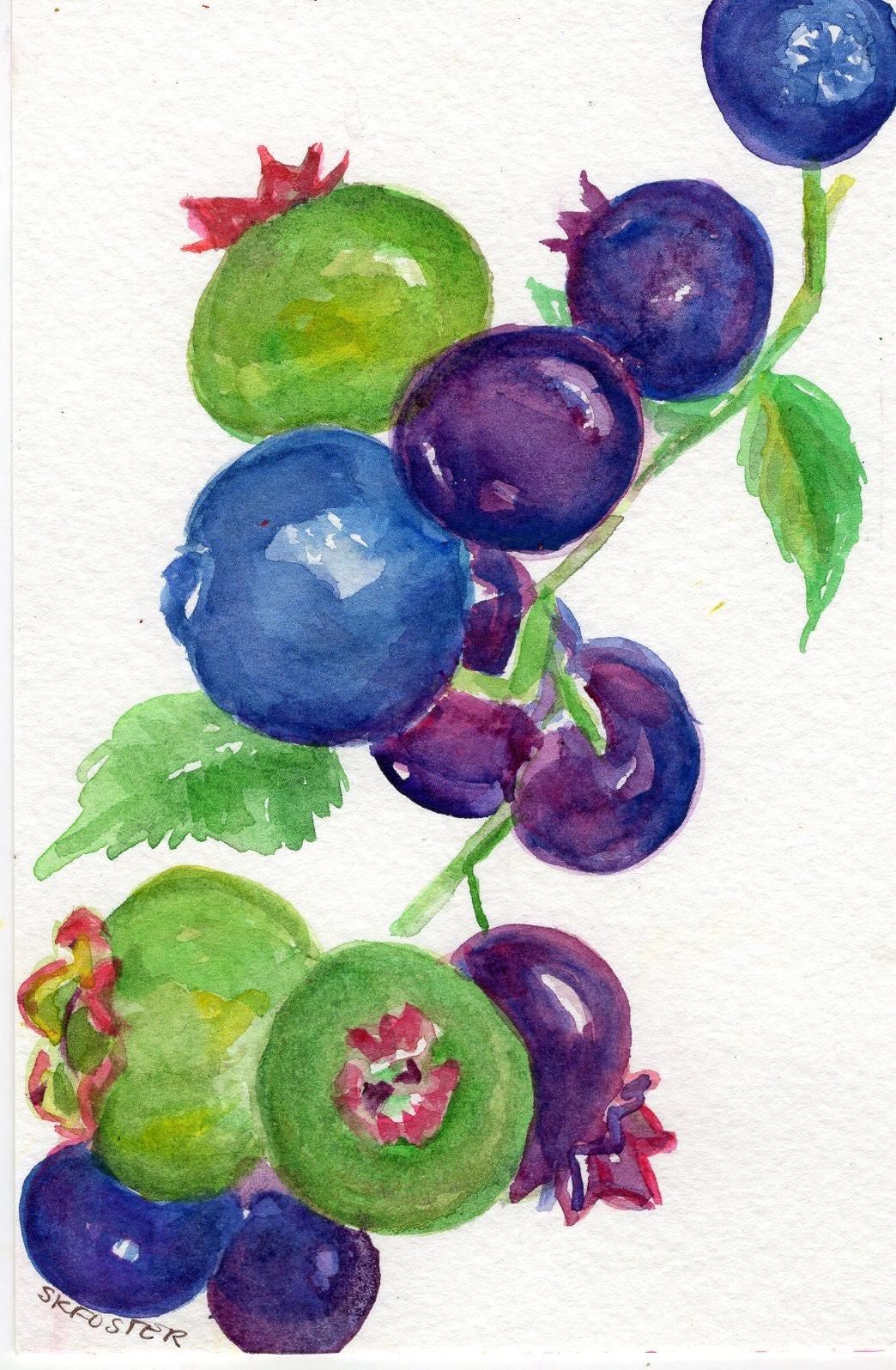 Blueberries Watercolor Painting original art 4 x 6 Fruit