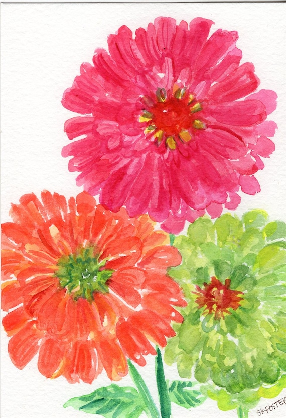 Zinnias watercolor painting original small floral art pink etsy image 0 mightylinksfo