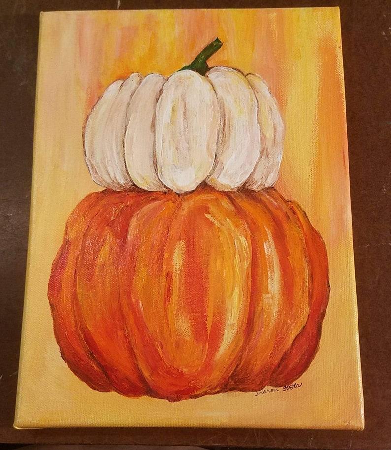 Original Pumpkins painting canvas acrylic 9 x 12 Farmhouse image 0