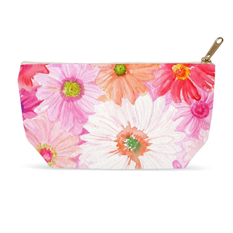 Pink Gerbera Daisies Accessory Pouch Makeup Bag T bottom image 0