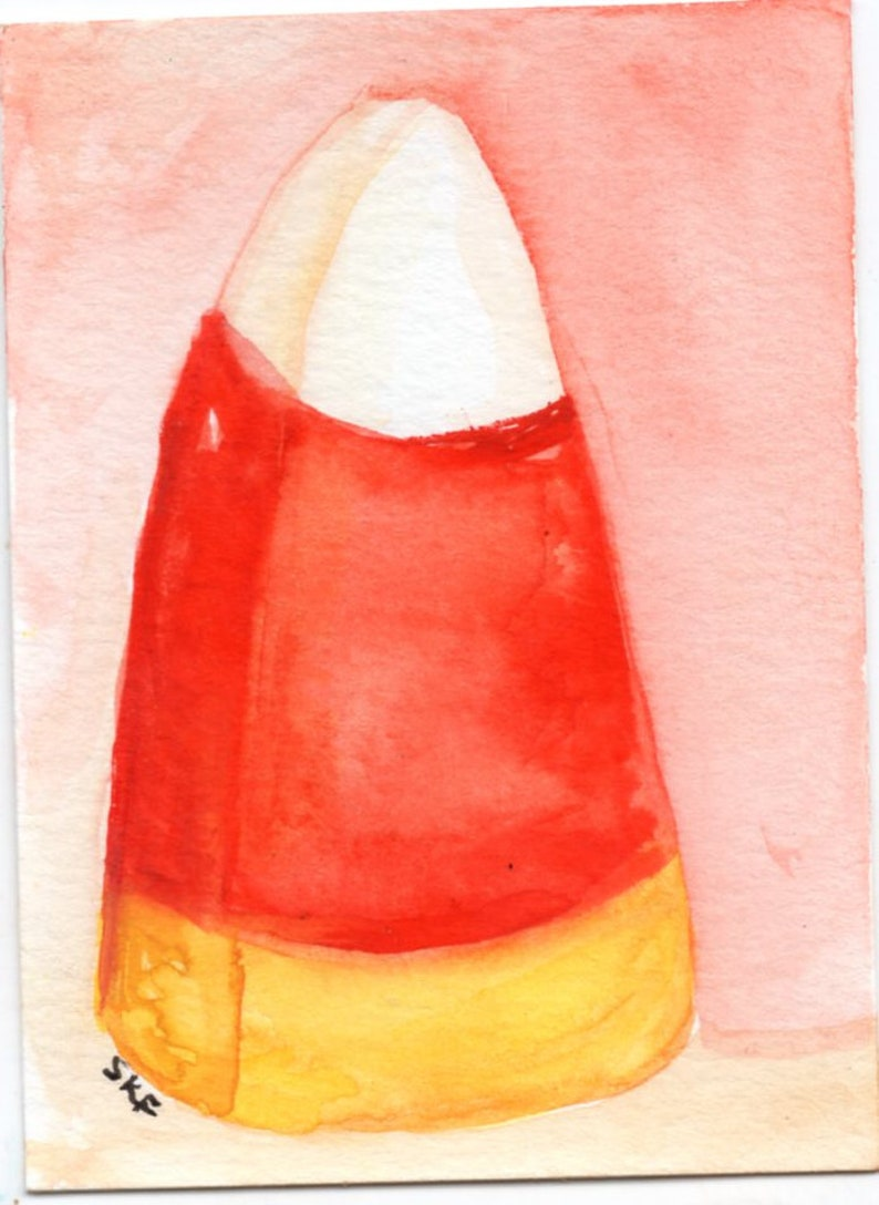 Original ACEO candy corn watercolor painting Halloween image 0
