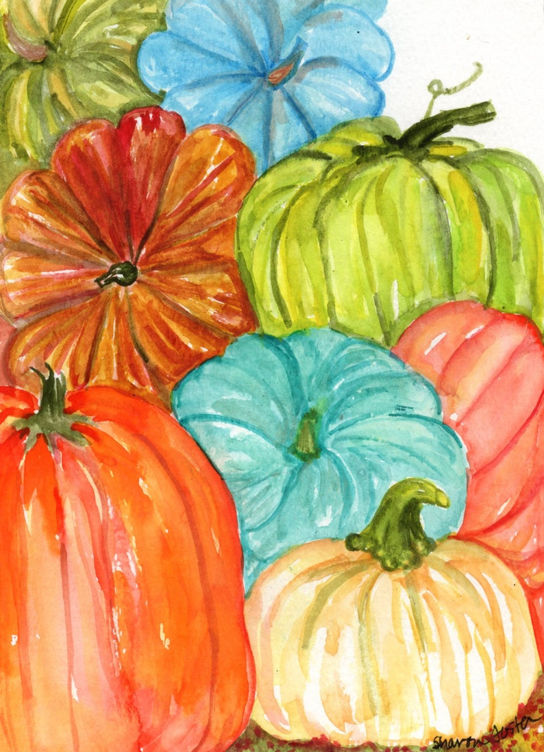 Pumpkins decor original watercolor painting original 5 x 7 image 0