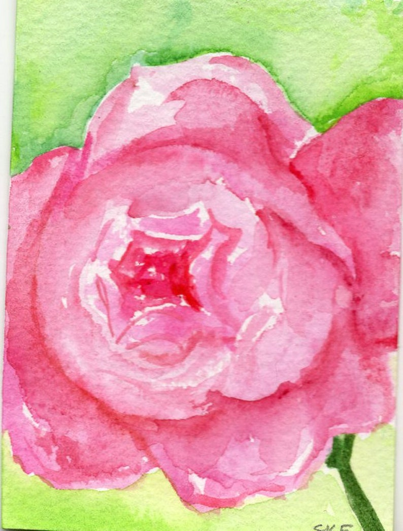 ACEO original rose watercolor painting floral rose painting image 0