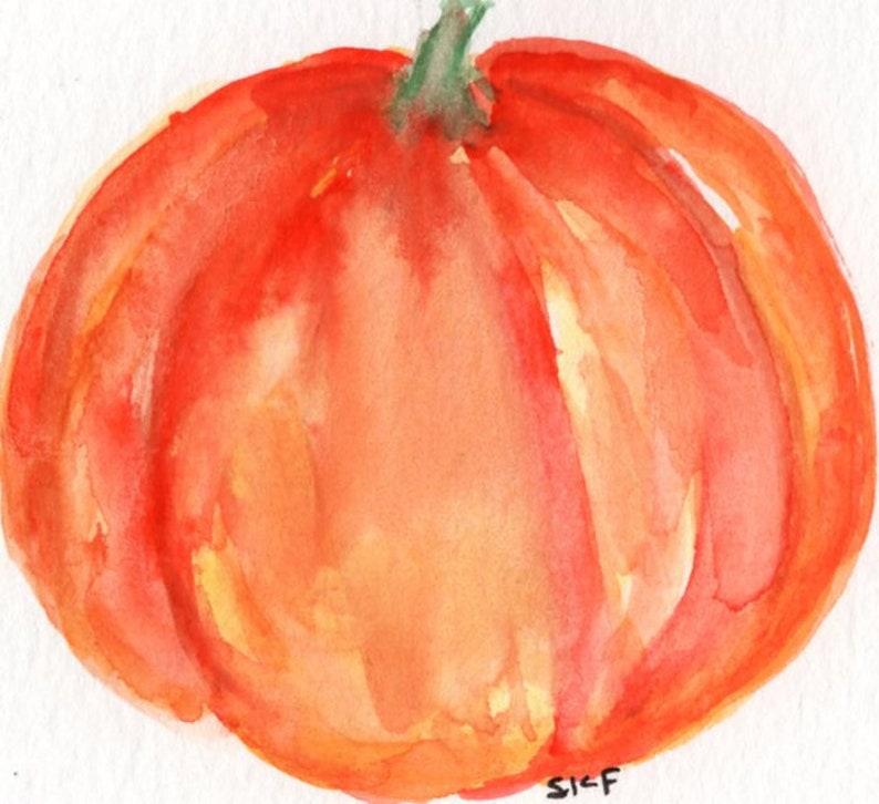 ACEO Original Pumpkin Watercolor Painting Fall artwork image 0