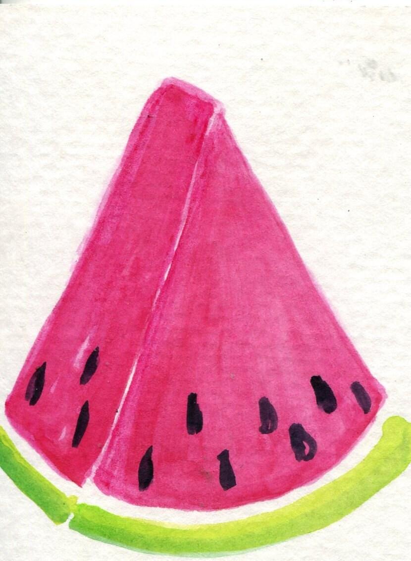 ACEO original Wassermelone Aquarell Malerei Kunst-Karte | Etsy