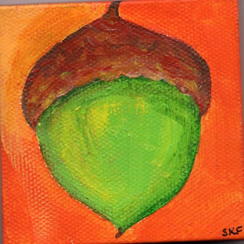 Acorn Mini Canvas Art Original Fall artwork. Easel small image 0