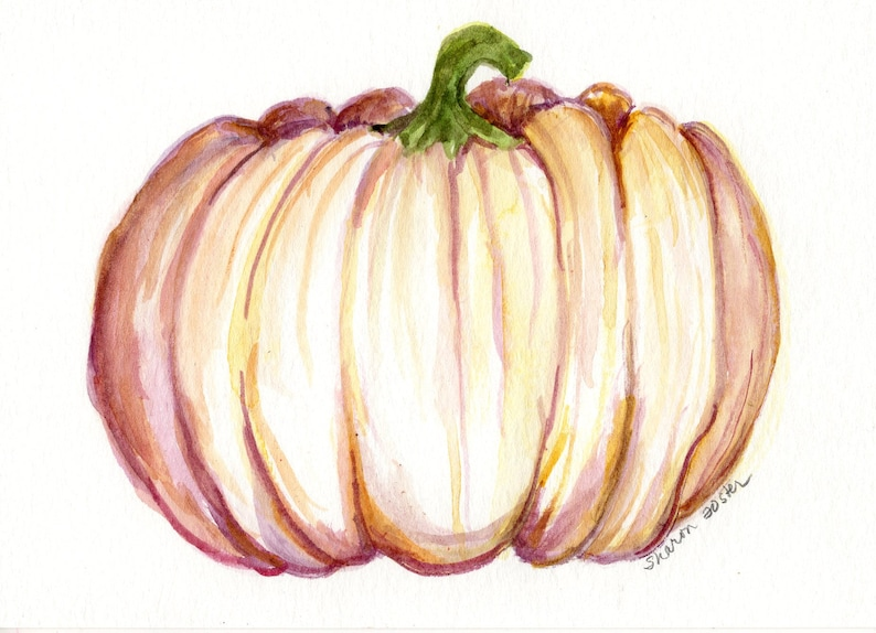 White Pumpkin Watercolor Painting original autumn pumpkin image 0