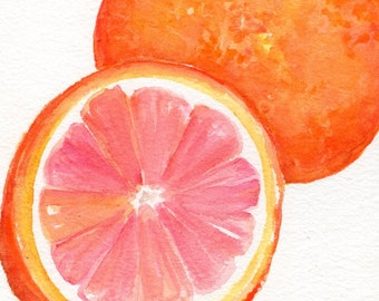 Oranges Watercolor Painting 5 x 7 Original Orange Fruit Wall Art, Kitchen Decor, Farmhouse Decor, watercolors paintings original