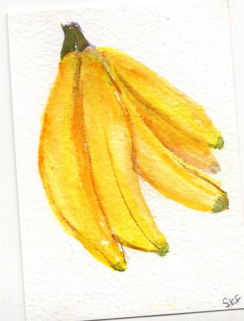 Original ACEO Bananas watercolor painting image 0