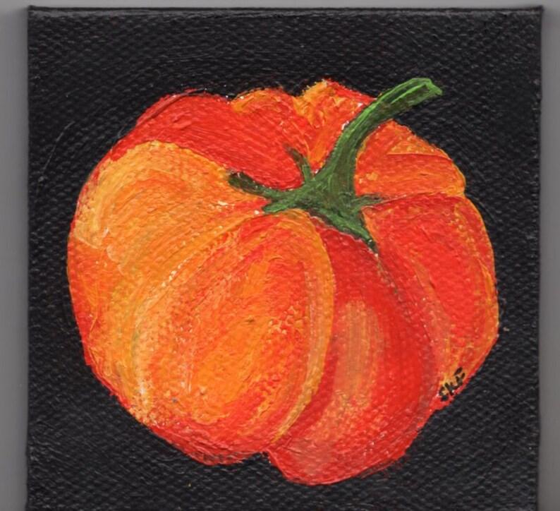 Hand painted mini pumpkin painting on black mini canvas art image 0