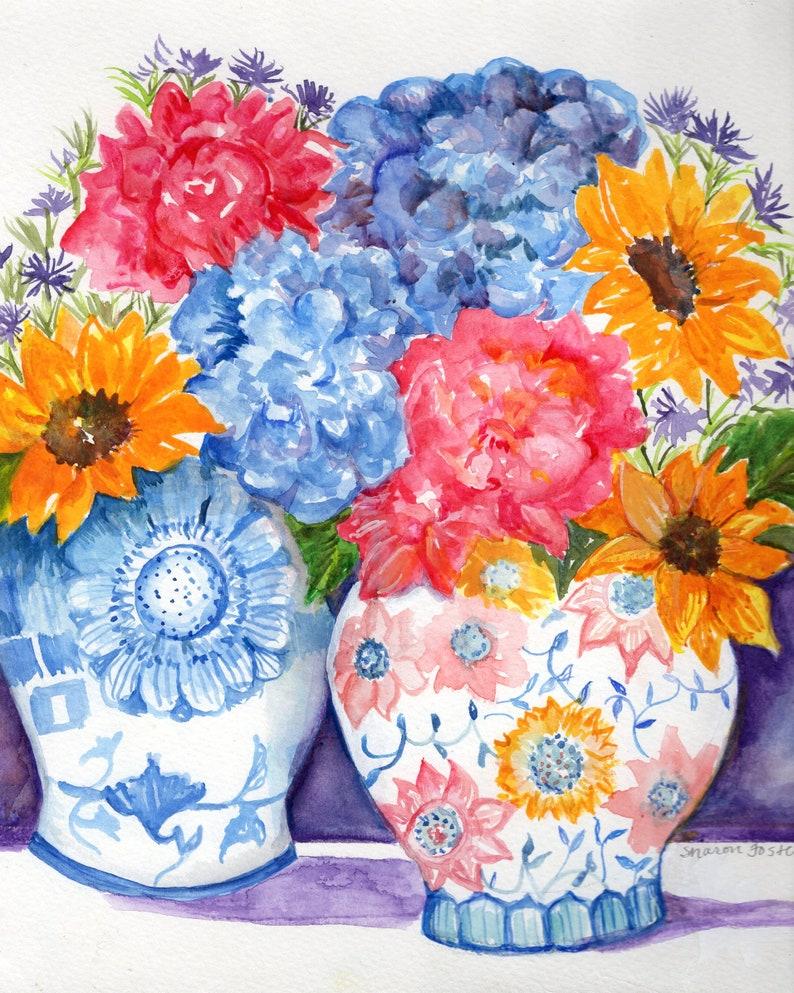 Peonies sunflowers hydrangeas watercolor painting original image 0
