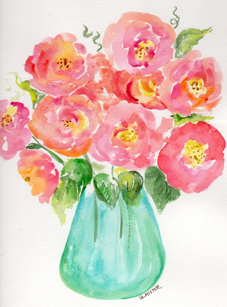 Original Cabbage Roses watercolor painting floral  pink roses image 0