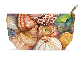 Seashells Makeup Pouches, Shells Accessory Bag, Cosmetics T- bottom Zippered pouch from my watercolor art