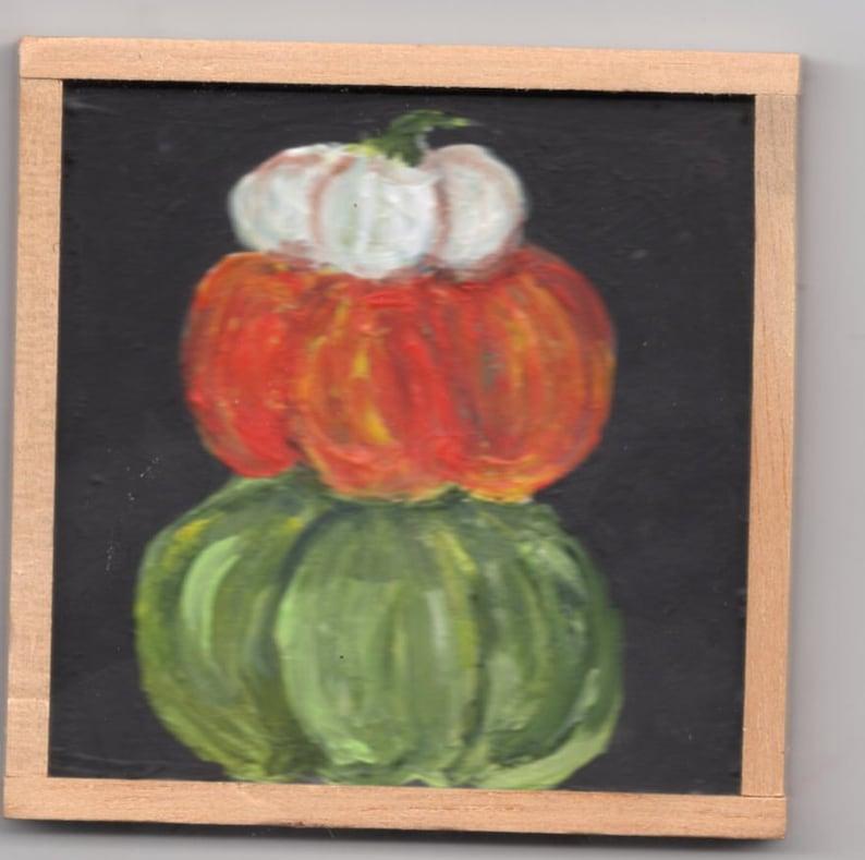 Pumpkin stack painting on mini blackboard  original 3x3 Fall image 0