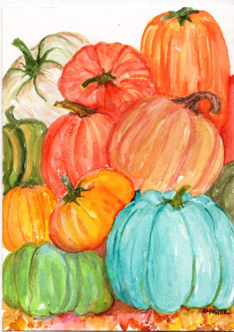 Pumpkins watercolor painting original 5x7  pumpkin patch art image 0