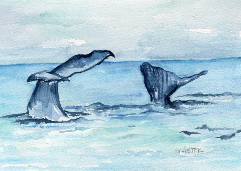 Original Whale Tails watercolor  painting whale flukes image 0