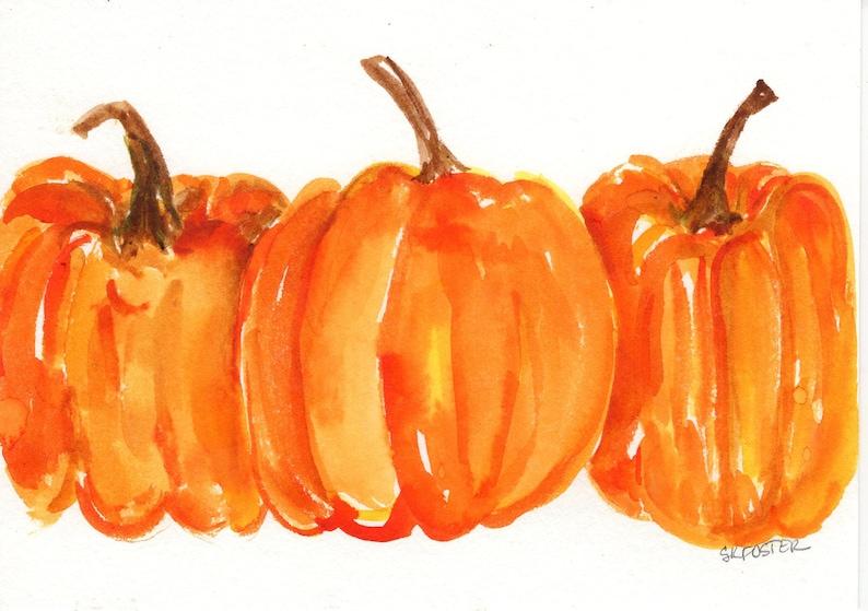 Pumpkins watercolor painting original Fall wall art 5 x 7 image 0