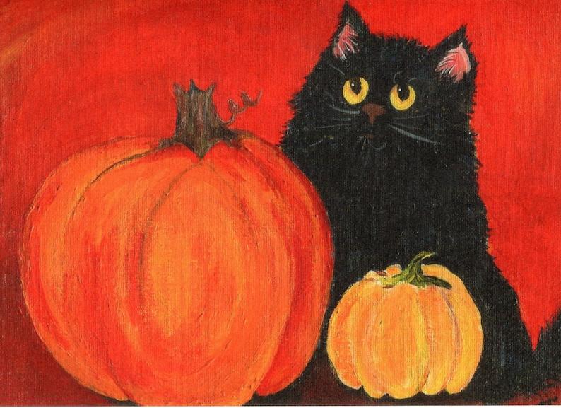 Black cat pumpkins card 5 x 7  Halloween decor Fall cat image 0