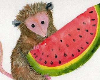 Possum Print of My Original Possum with Watermelon Watercolor Painting, Opossum Art Print 10 x 8