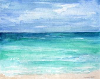 Original watercolor painting beach, Seascape watercolor painting Original, 8 x 10 sea view, beach house art, 30A