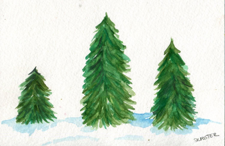 Fir Christmas Trees Original Watercolor Painting 4 X 6 Fir