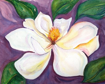 Magnolia Watercolor Original Painting from Mississippi, 8 x 10 Flower artwork, Magnolia wall art