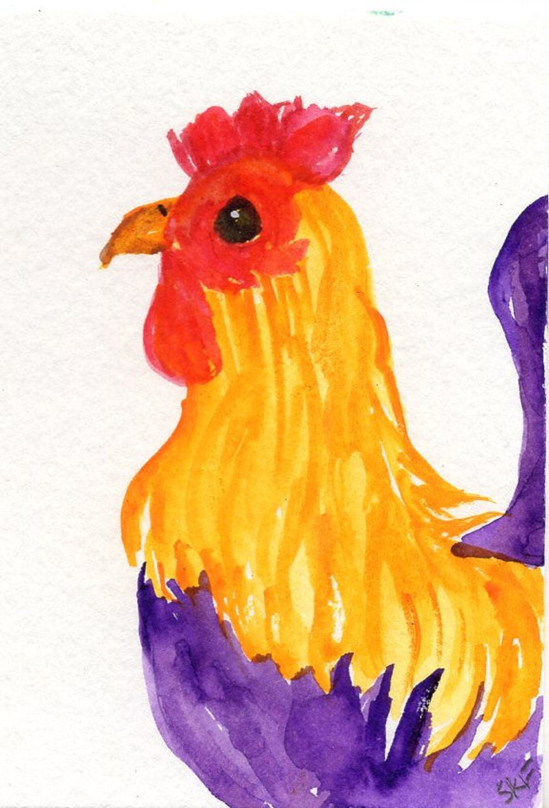 ACEO Original Rooster watercolor painting  Chicken Art image 0