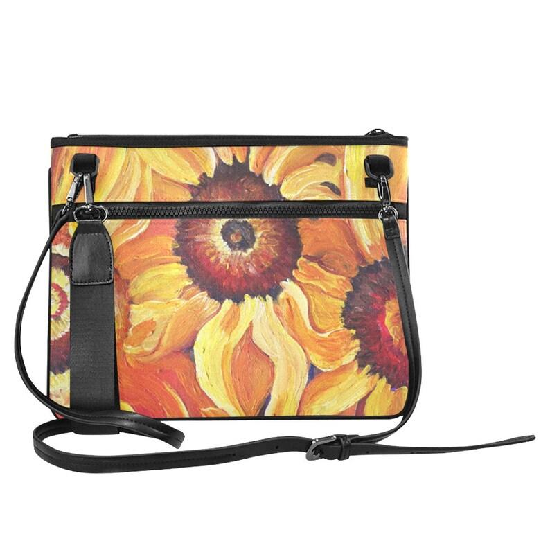 Sunflowers Slim Clutch Bag shoulder strap wristlet image 0