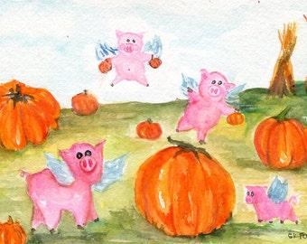 Pigs flying  over pumpkin field watercolor painting original