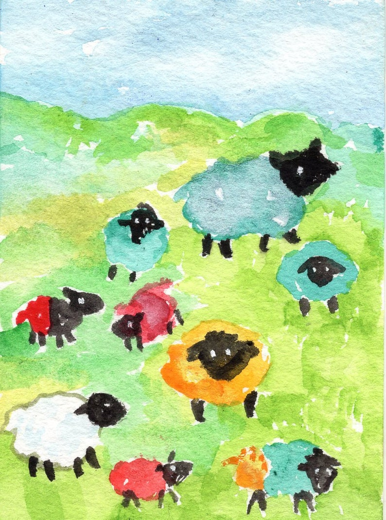 Sheep painting ACEO Original watercolor painting Where colored image 0