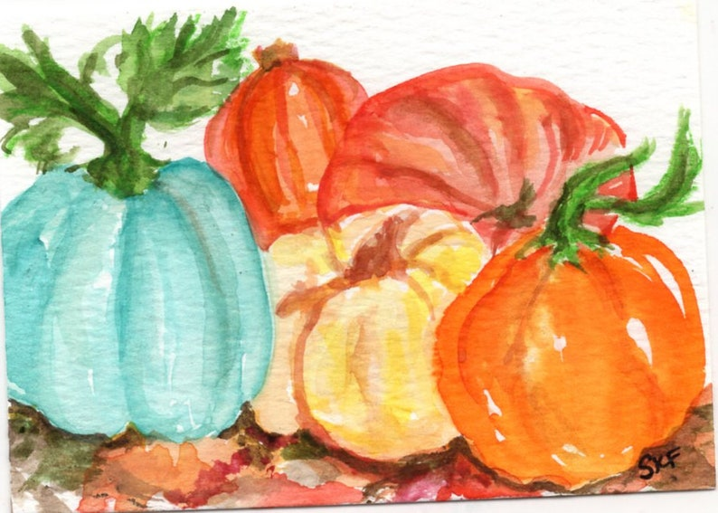 ACEO original Pumpkin Watercolor Painting OOAK pumpkins art image 0