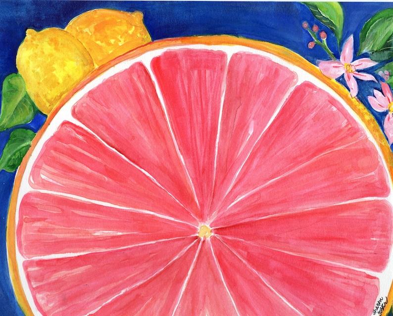 Grapefruit Watercolor Painting Original Ruby Red Citrus ART 8 image 0